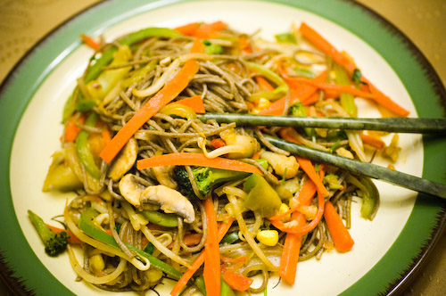 Stir-Fry Vegetables with Buckwheat Soba Noodles
