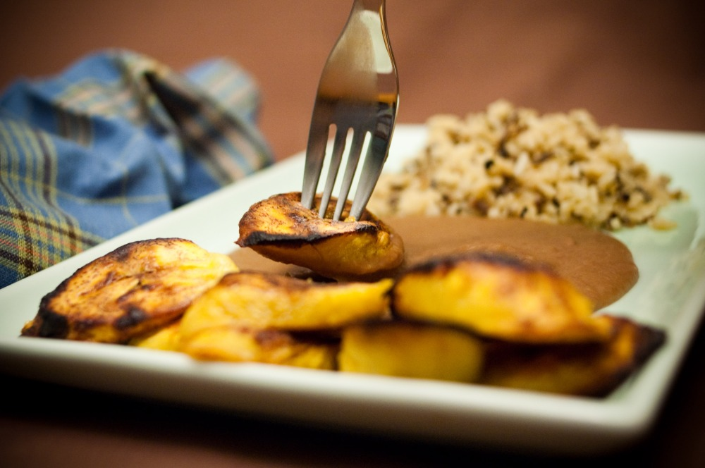 Salvadorean Beans and Baked Plantains