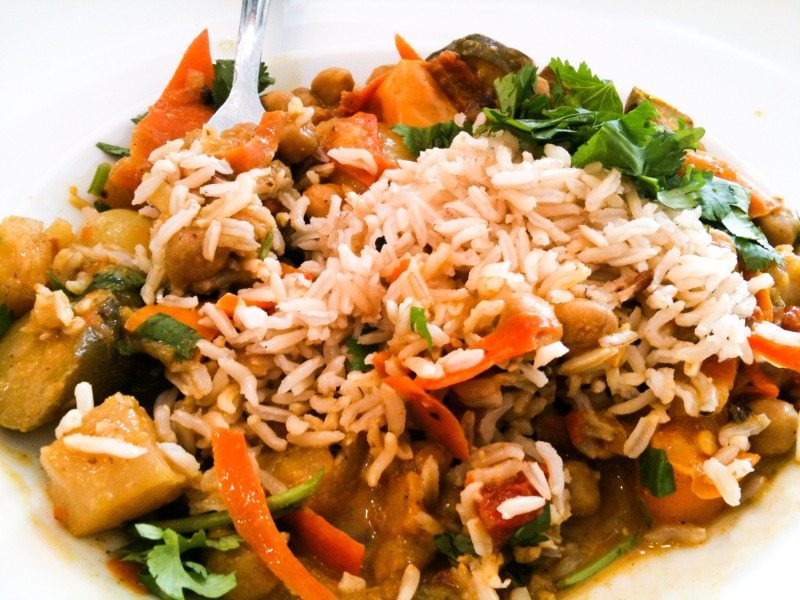 Curry Veggies and Brown Rice