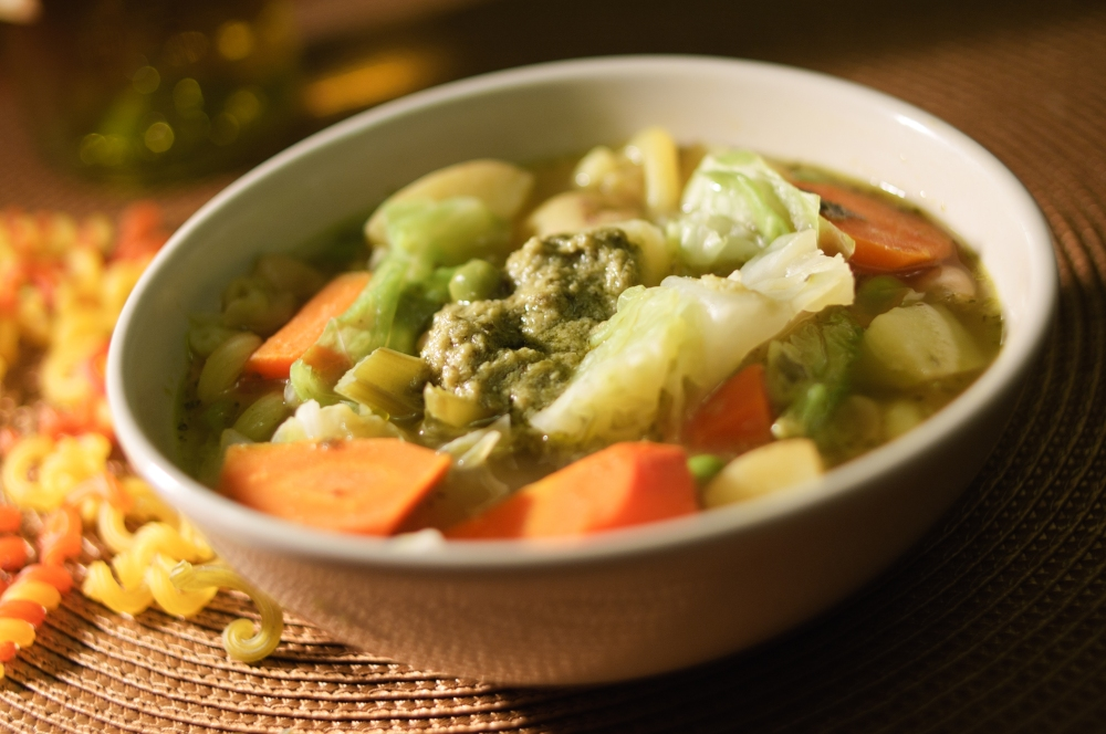 Garden Vegetable Soup With Pesto